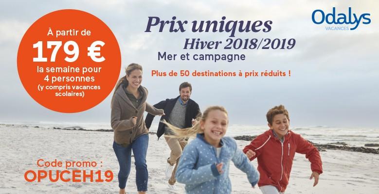 sur des résidences à la Mer et à la Campagne du 03/11/18 au 30/03/19. A partir de 179 € la semaine de location pour 4 personnes !